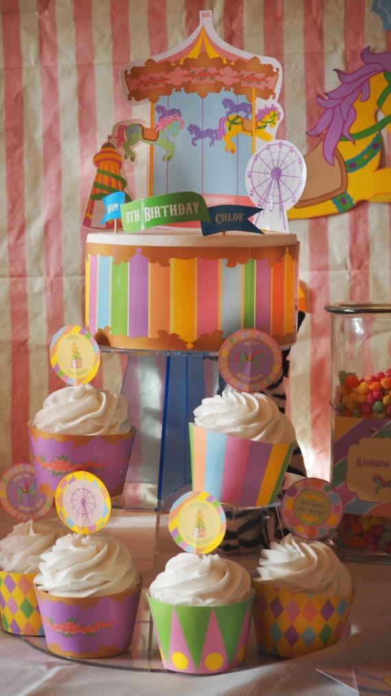CARNIVAL- Fair Ground - Carousel - Personalised - Birthday - Shower - Pastel - Cake - Cupcake - Package - PRINTABLE - Pdf - Digital