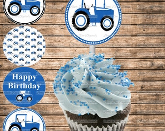 DIY Printable Blue Tractor Themed Happy Birthday Cupcake Toppers - Printable Instant Download