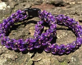 Purple Paracord Bracelet; Purple Survival Gear Bracelet;