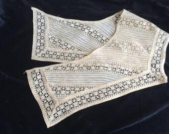 On SALE Antique Edwardian Victorian Collar Insert Raw Silk Organdy and Bobbin Lace