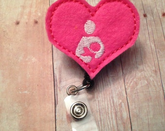 Heart breastfeeding badge reel -- breastfeeding, lactation consultant, lactation nurse -- pink and white
