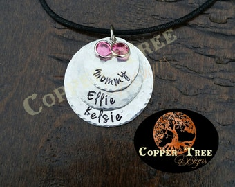 Hand Stamped 3 layer, personalized round necklace birthstone - Handstamped Handmade Jewelry Pendant Family Mom Children Grandmother