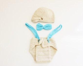 Crochet Baby Beanie & Diaper Cover Set