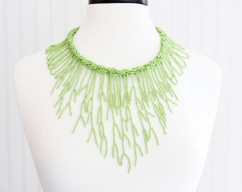 Light Green Seaweed Beaded Necklace