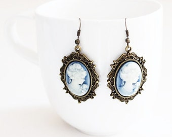 Victorian Lady Blue Cameo Earrings