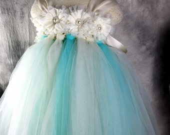 TUTU Flower girl dress Aqua Tutu dress Wedding dress Birthday dress Newborn 2T to 8T