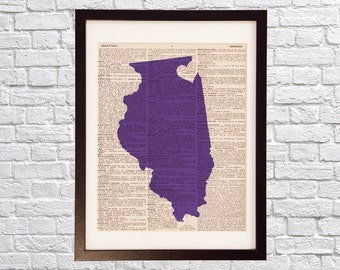 Northwestern Wildcats Dictionary Print - Chicago Art - Print on Vintage Dictionary Paper - Northwestern University - Graduation Gift