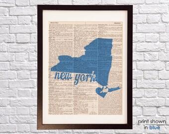 New York City Dictionary Print - NYC Art - Print on Vintage Dictionary Paper - Any Color - I Heart NY - I Love New York - New York Map Art