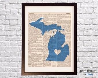 Michigan Dictionary Art Print - Detroit Art - Print on Vintage Dictionary Paper - Any Color - Grand Rapids, Lansing, Ann Arbor, Kalamazoo
