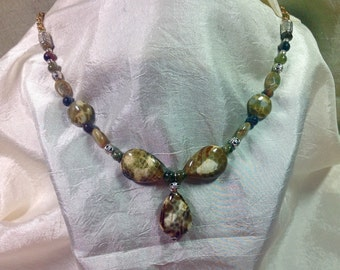 Gorgeous Turtle Fire Agate Pendant necklace 21 1/2 inches