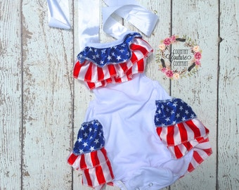 Fourth Of July Bubble Romper-American Flag Romper-Flag Romper-Shabby Chic Romper-Bubble Romper-American Baby-4th Of July Baby Outfit