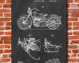 Retro 1928 Harley Motorcycle - Vintage Art Print Poster or Canvas, Patent Wall Art, Home Decor, Harley Davidson, Classic Bike, Gift 385