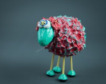 Paper Mache Red and Turquoise Wondering Sheep