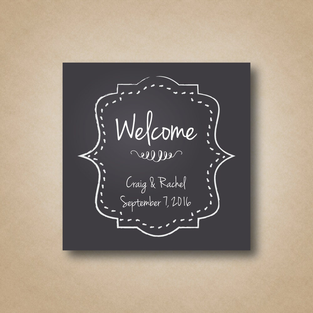 Wedding Welcome Bag Stickers Chalkboard Welcome Stickers