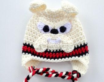 Bulldog Crochet Hat, Bow / Earflaps (Braids) Optional, Newborn to Adult Sizes