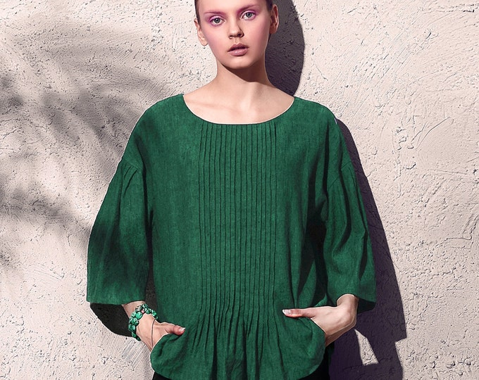 Women shirt/Tunic - Shirt 3/4 sleeves - Round neck - Linen shirt - Made to order