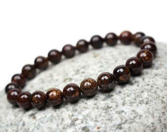 Bronzite Bracelet - Brown Jewelry, Brown Mens Bracelet, Brown Accessories, Brown Gemstone Bracelet for Men, Mala Bracelet Men