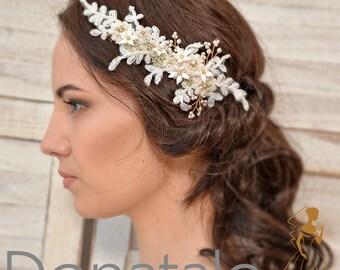Rose gold Wedding hair piece ,Bridal headpiece,Bridal  hair comb, Wedding Headpiece, Lace Bridal hair piece, Bridal hair accessories- AGNES