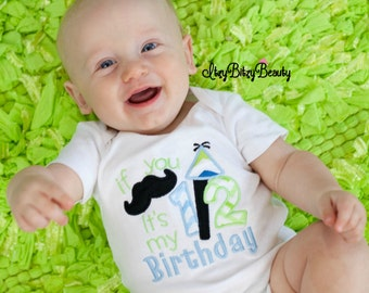 6 month 1/2 half birthday baby boy mustache blue and green embroidered bodysuit