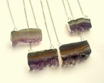 Silver Edged Amethyst Slice Necklace Rough Raw Crystal Pendant Silver Amethyst Rough Raw Purple Stone Crystal Cluster Amethyst Jewelry Boho