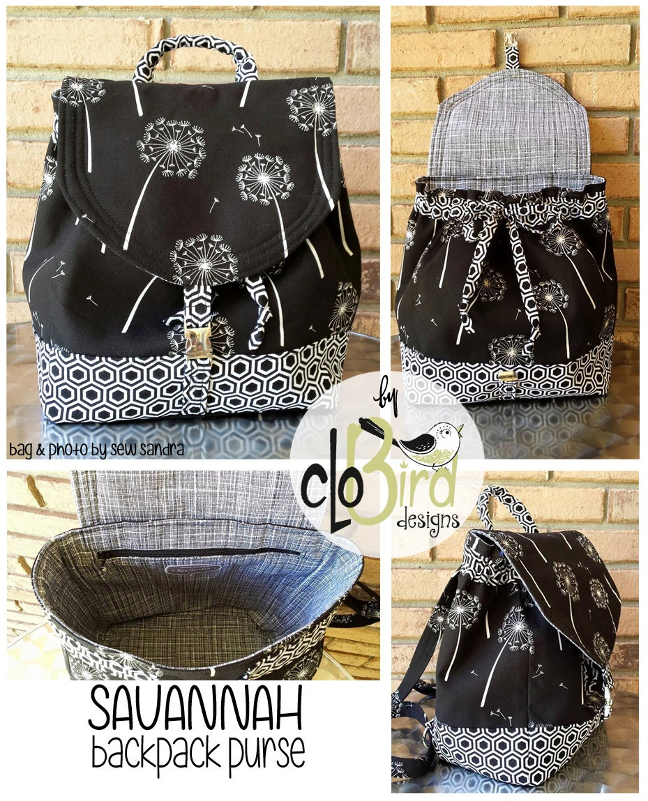 SALE Savannah Backpack Purse PDF Pattern