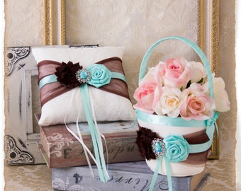 READY TO SHIP Chocolate and Aqua Flower Girl Basket, Wedding Ring Bearer Pillow, Wedding Ring Pillow, Wedding Pillow, Flower Girl Basket
