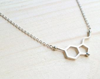 Silver Serotonin Molecule Necklace, Chemistry Necklace, Molecule Happiness Sign necklace, Serotonin Molecule Necklace, Chemistry Necklace