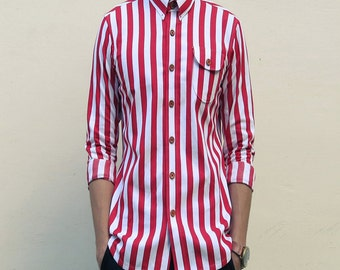 Mens Bold Stripes Nautical Stitch-down Collar Shirt (Red)