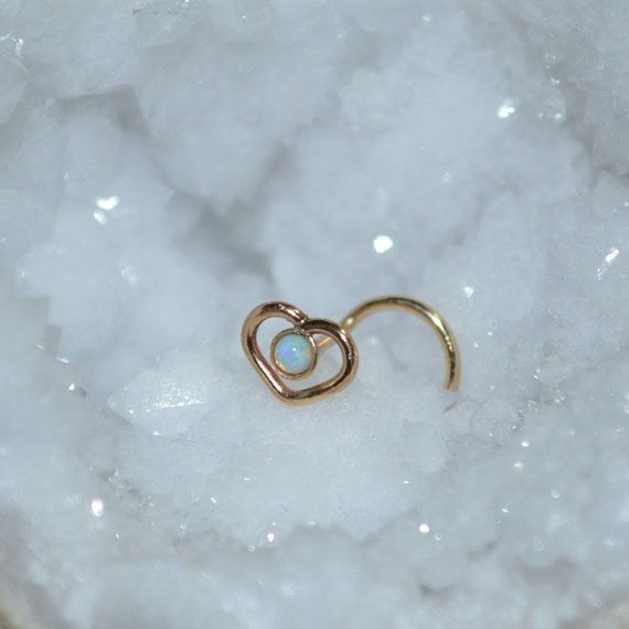Gold Heart Nose Ring Stud 20 gauge - Nose Stud - Tragus Stud - Cartilage Earring Stud - Helix Piercing - Conch Earring - 2mm Opal Nose Hoop
