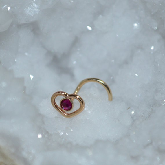 2mm Ruby Nose Ring Stud - Gold Heart Nose Piercing - Nose Stud - Helix Earring Stud - Tragus Jewelry - Cartilage Hoop - Conch Piercing 18g