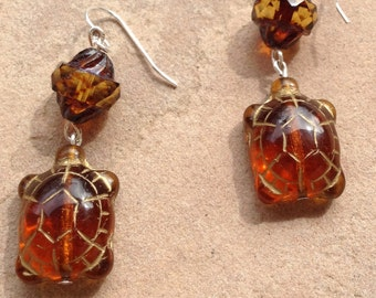 Czech glass turtle earrings