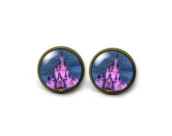 X755- Disney Castle, Glass Dome Post Earrings