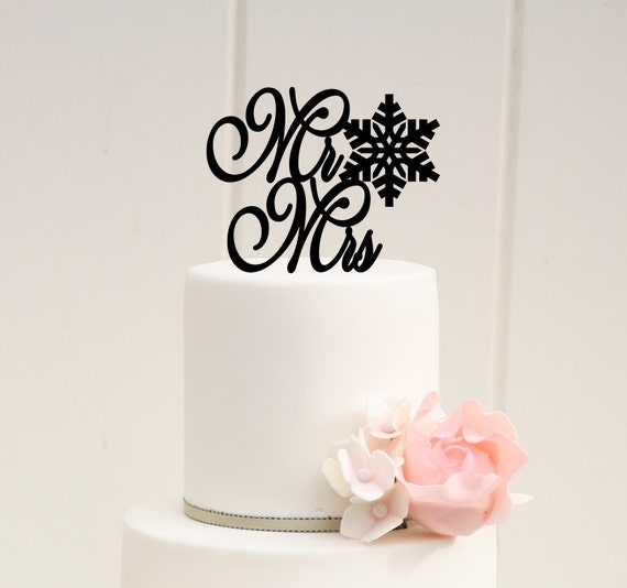 Snowflake Mr & Mrs Wedding Cake Topper - Winter Wedding Cake Topper ...