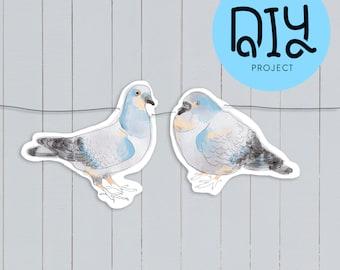 Pigeons paper garland DIY kit