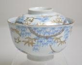 Hizen Imari Antique Lidded Bowl. Chidori Bird and Bamboo Motif. Japanese Antique Dish