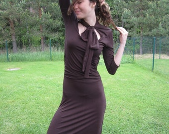 Chocolate Brown Bodycon Midi Dress 3/4 Sleeve  Romantic Dancing Brown Dress Small Size
