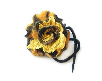 Felted brooch flower felt brooch wool brooch yellow black flower nuno felted flower art flower floral boho brooch summer gift  OOAK