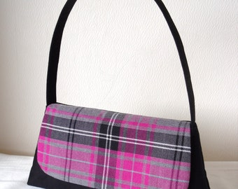 Tartan Handbag Black with Pink Black & Grey Tartan flap / Shoulder Bag / Clutch / Purse - Handmade in Scotland
