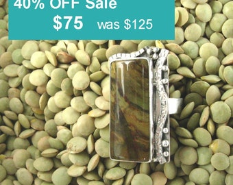 Large Statement ring in sterling silver, with Morrisonite cabochon, size 8+