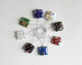 Snagless square millefiori bead stitch markers - set of 8