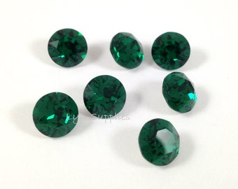 12pcs 1088 SS39 EMERALD Swarovski Crystal XIRIUS Chaton Pointed Back Round Stone