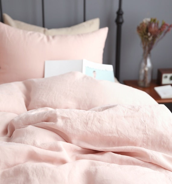 Washed Blush Linen Soft Queen Twin Size Bedding By