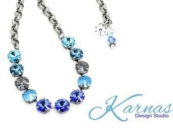 MOSAIC BLUE 12mm Rivoli Cut Necklace Made With Swarovski Crystal *Choose Your Finish *Karnas Design Studio™ *Free Shipping*