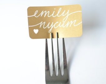 50 Gold Calligraphy Fork Place Cards Escort Cards with Optional Custom Cutout