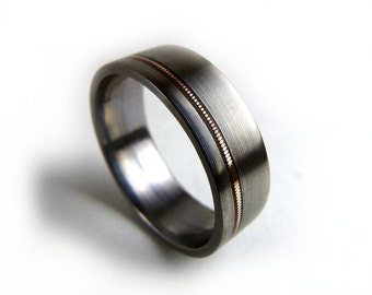 Guitar String Ring, Guitar String Jewelry, Guitar String Inlay, Ring for Men, Ring for Women, Titanium Band, Titanium Ring, Music Jewelry