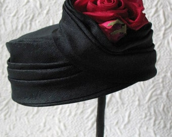 Vintage Classic Pillbox Hat Black with Red Rose Mid Century Tea Party  Kate Middleton Style Garden Party Wedding Hat   Women's Accessories