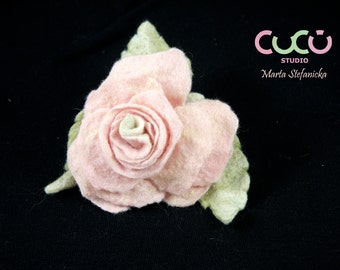 Felted brooch light pink rose brooch ready to ship handmade in Italy