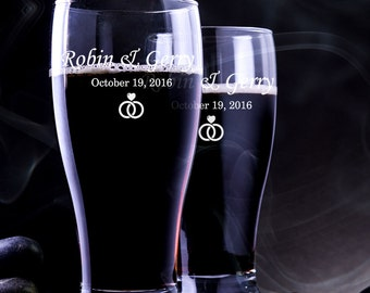 Set of 2 - Engraved Beer Glass - Personalized Pilsner Glass - Wedding Pilsner Glass - Pilsner Wedding Glass - Engraved Beer Mug - Beer Mug