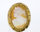 Crescent Crowned Female Cameo Brooch Pendant in 10K Gold