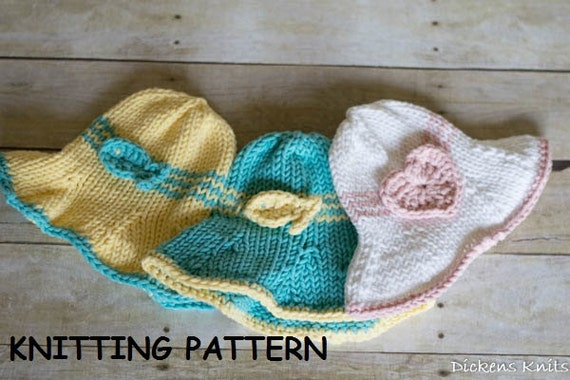 Knitting Pattern Baby Sun Hat : PDF KNITTING PATTERN Cotton Baby Sun Hat Knit Baby Sun Hat